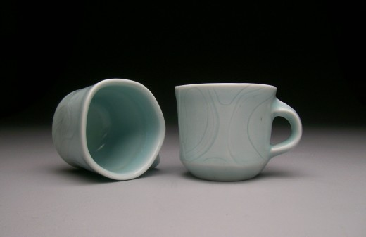 Carved Porcelain Pentagon Cups
