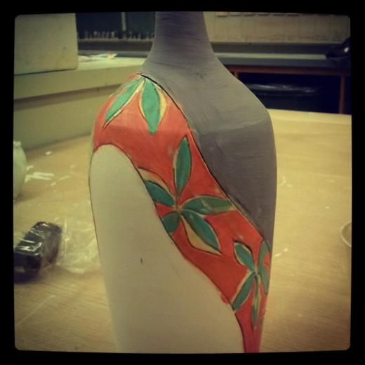 flower bottle underglaze