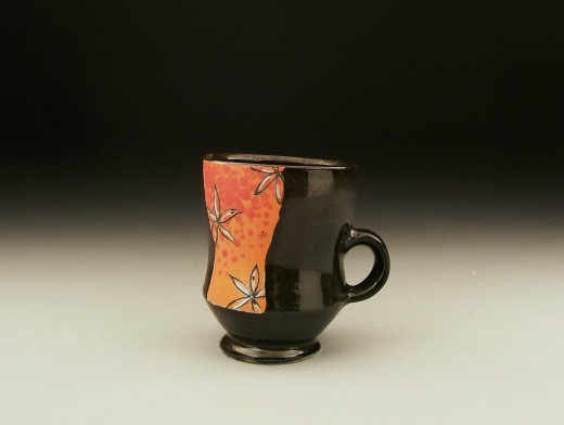 Orange and Red flower mug