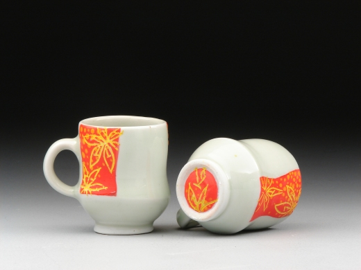 African Fire Lily espresso cups